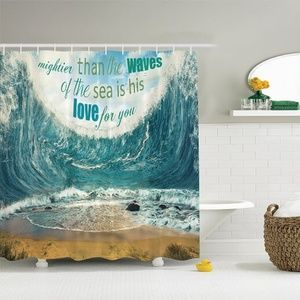 Shower Curtain Huge Wave Love Quote Print